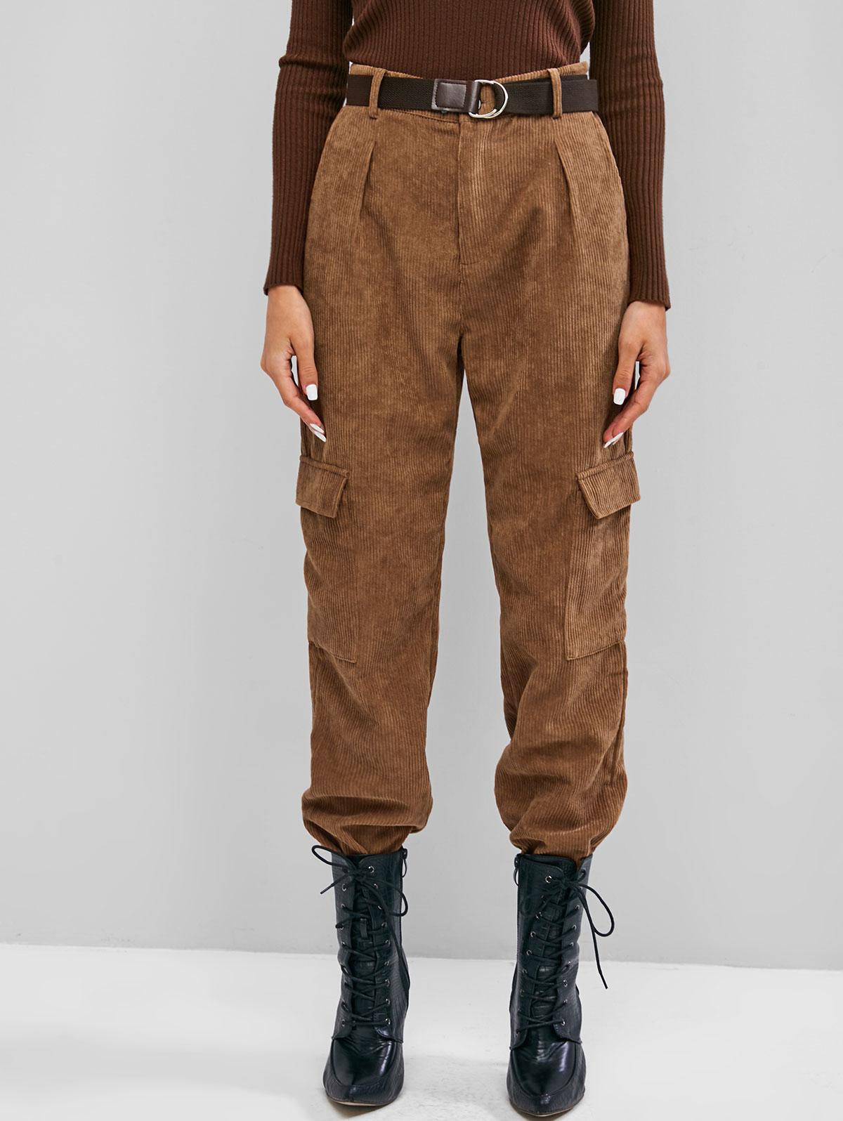 Corduroy Flap Pocket High Rise Cargo Pants