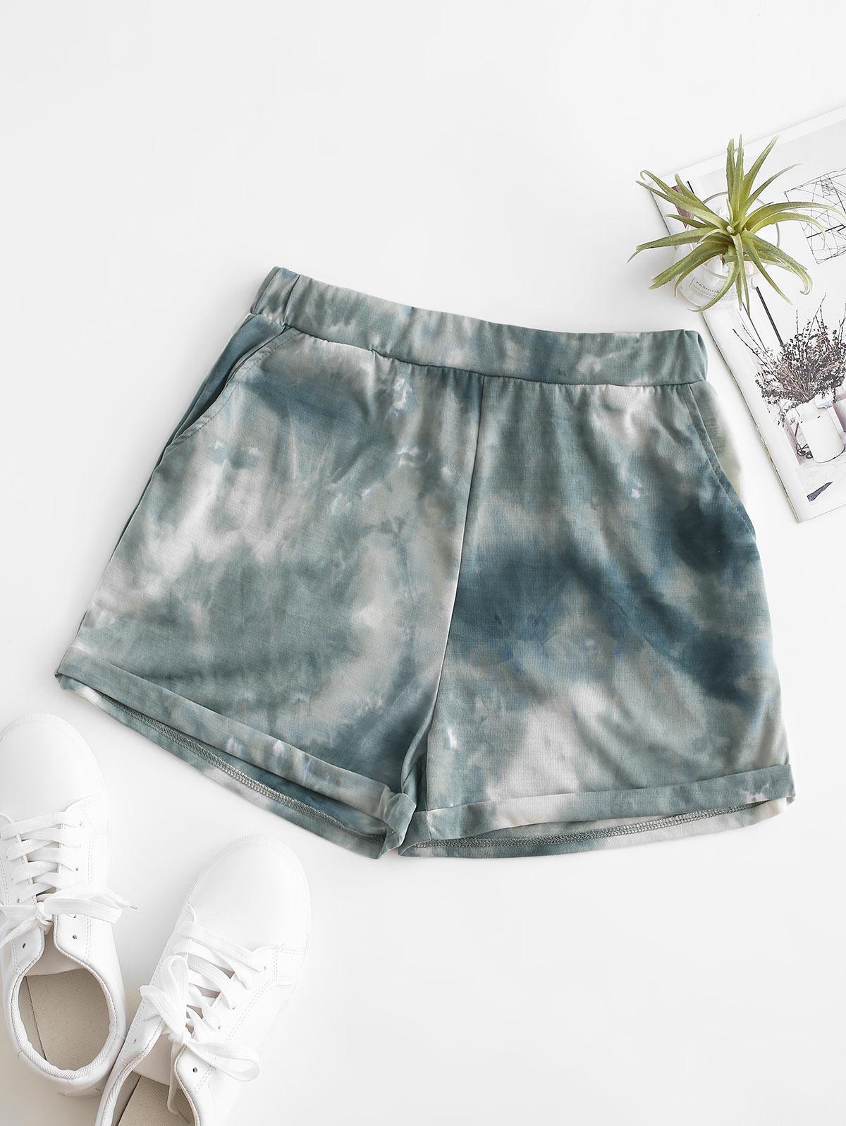 ZAFUL Pull On Pocket Tie Dye Cuffed Shorts