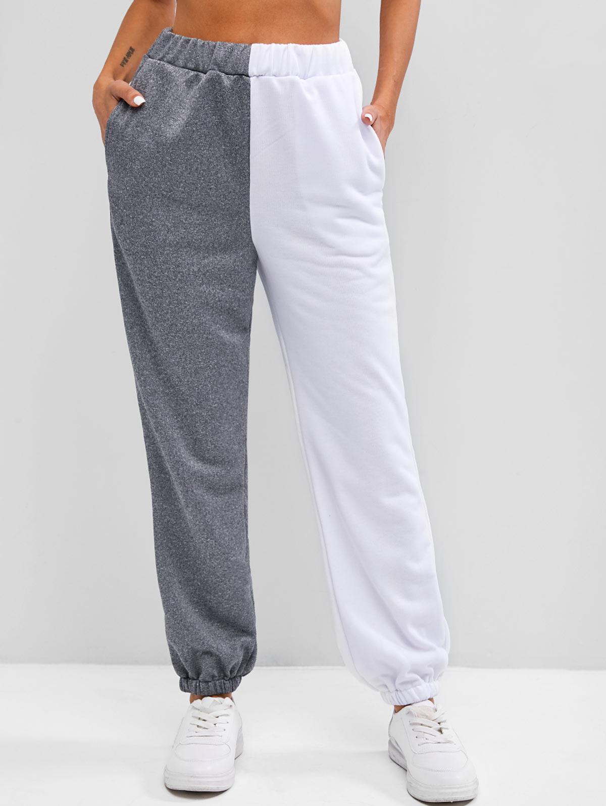 High Waisted Contrast Jogger Sweatpants