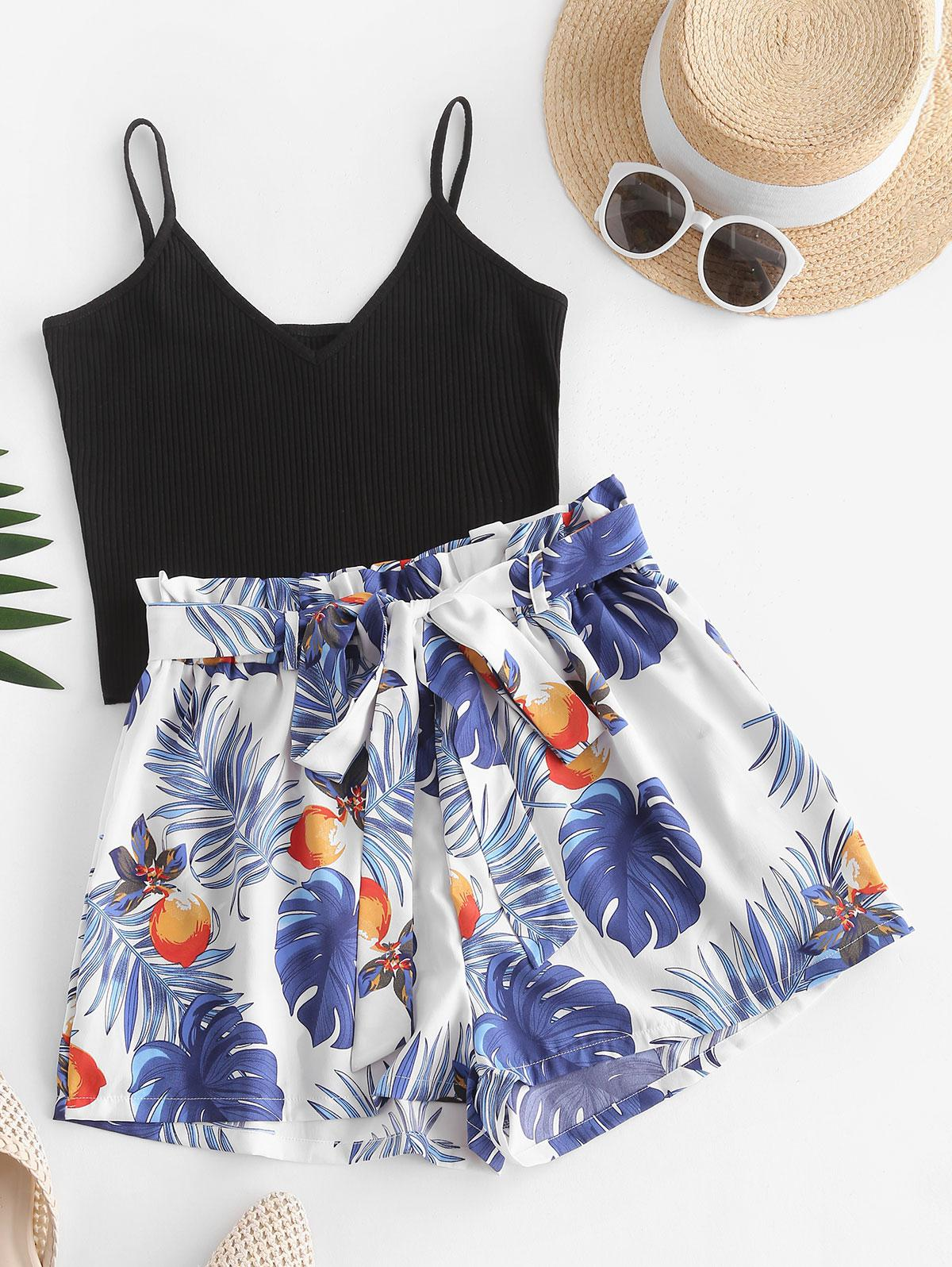 Ribbed Belted Leaves Fruit Print Two Piece Set