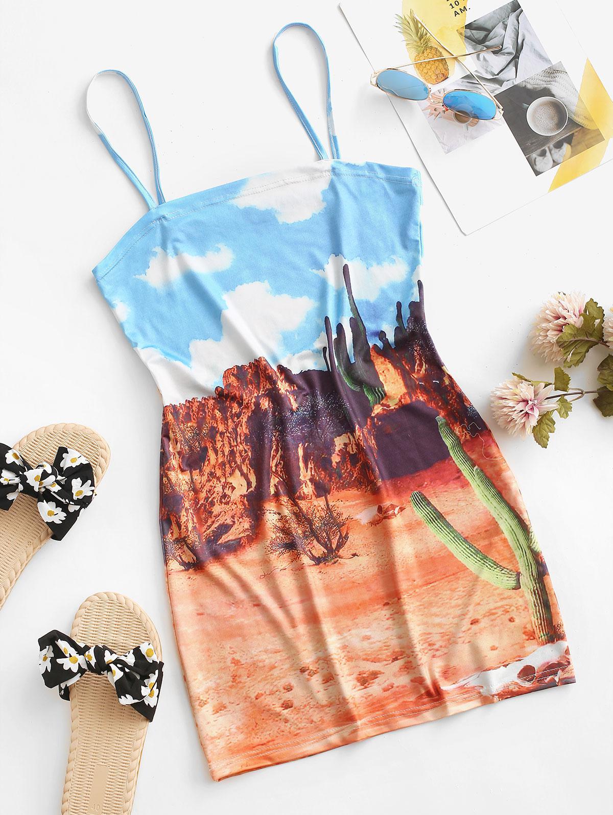 Desert Printed Cactus Cami Dress