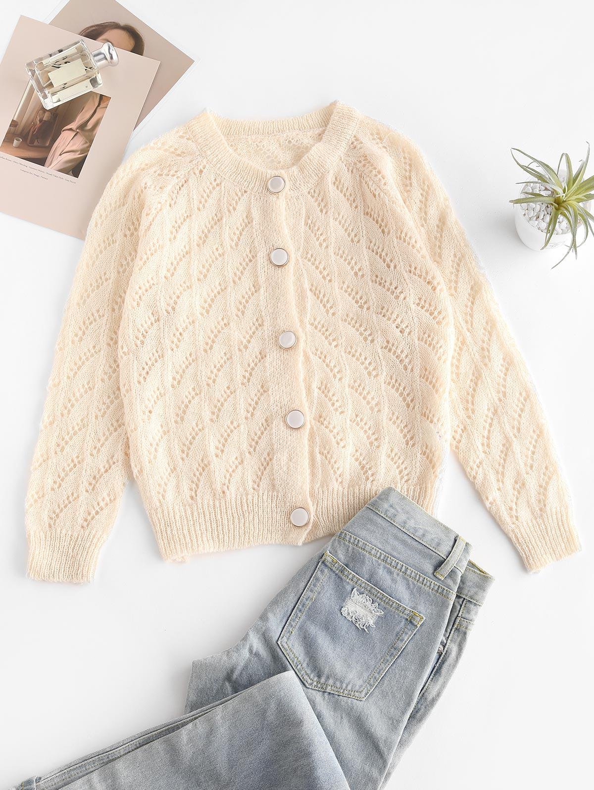 Raglan Sleeve Pointelle Knit Cardigan