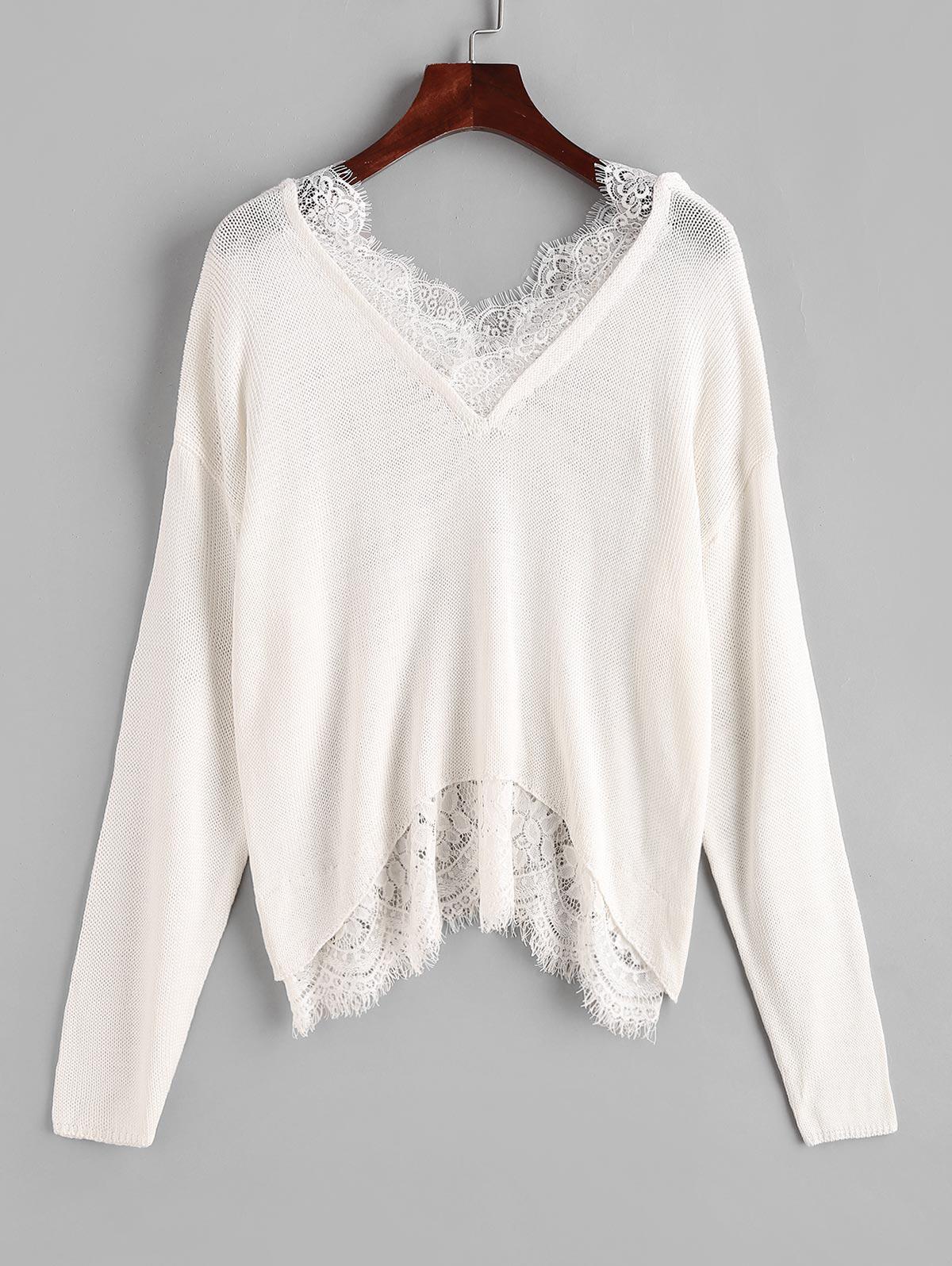 Lace Eyelash Sheer Drop Shoulder Sweater