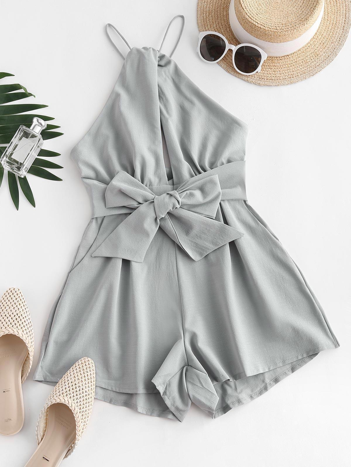 Solid Tie Waist Cut Out Front Romper