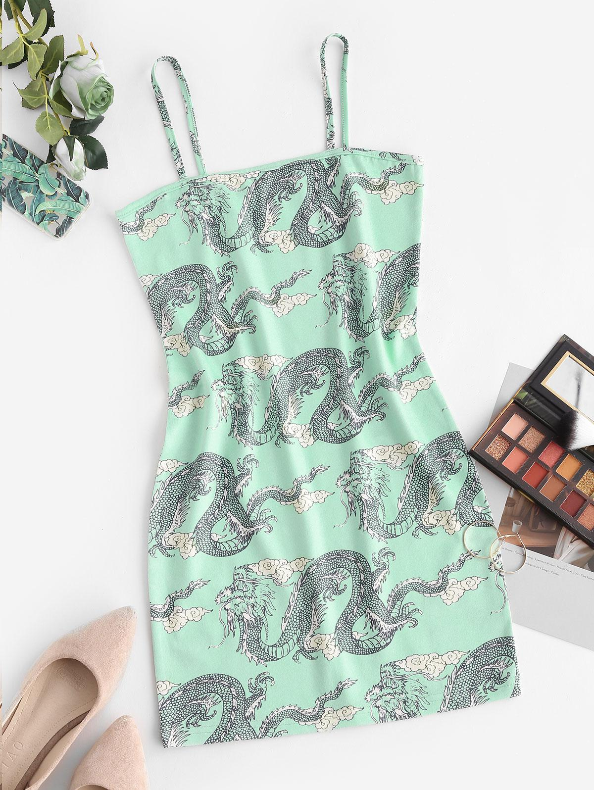 Chinoiserie Dragon Print Bodycon Cami Dress