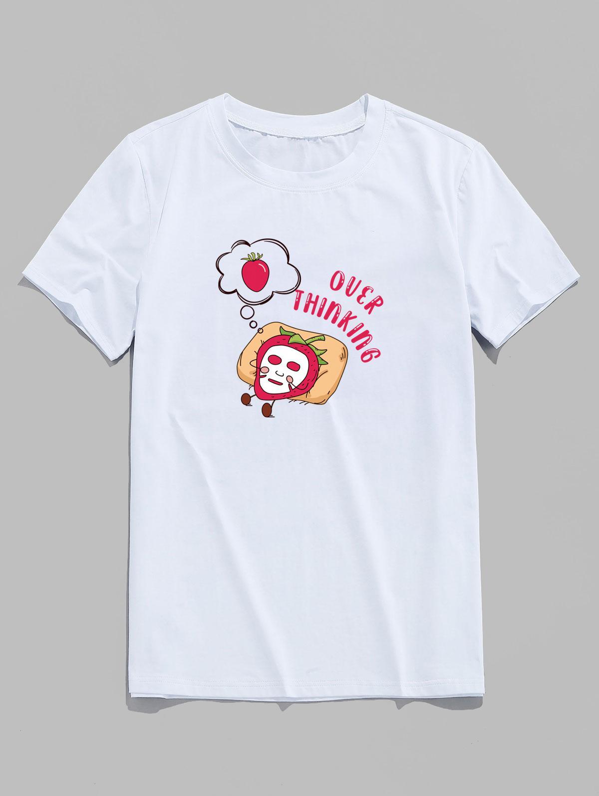 Over Thinking Cartoon Strawberry Print Basic T-shirt