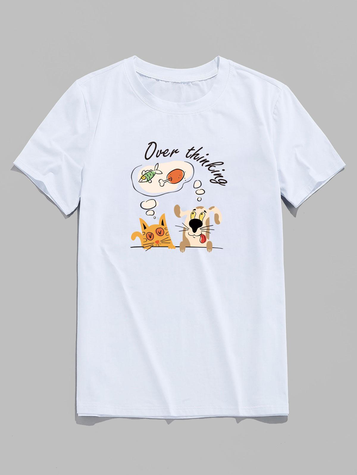 Over Thinking Cartoon Animal Print Basic T Shirt