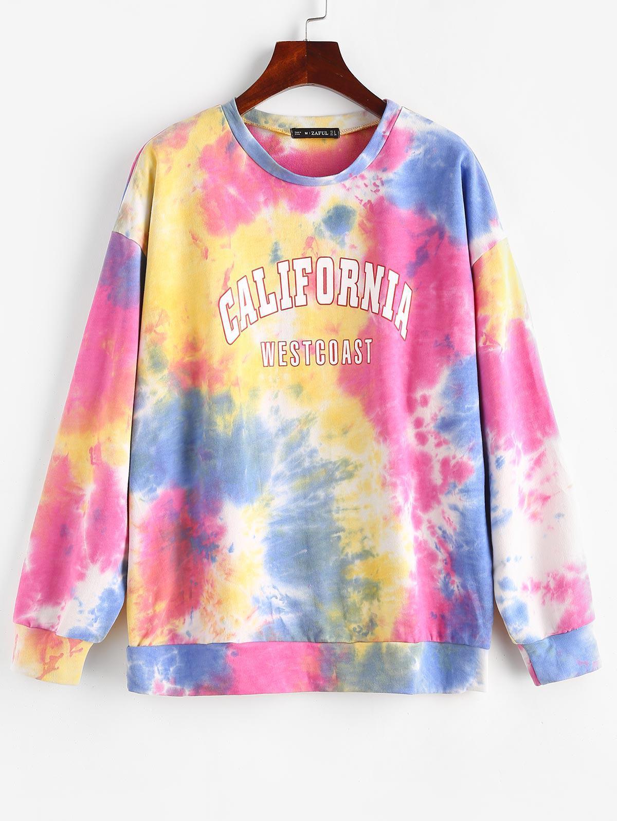 Colorful Tie Dye WEST COAST Graphic Sweatshirt