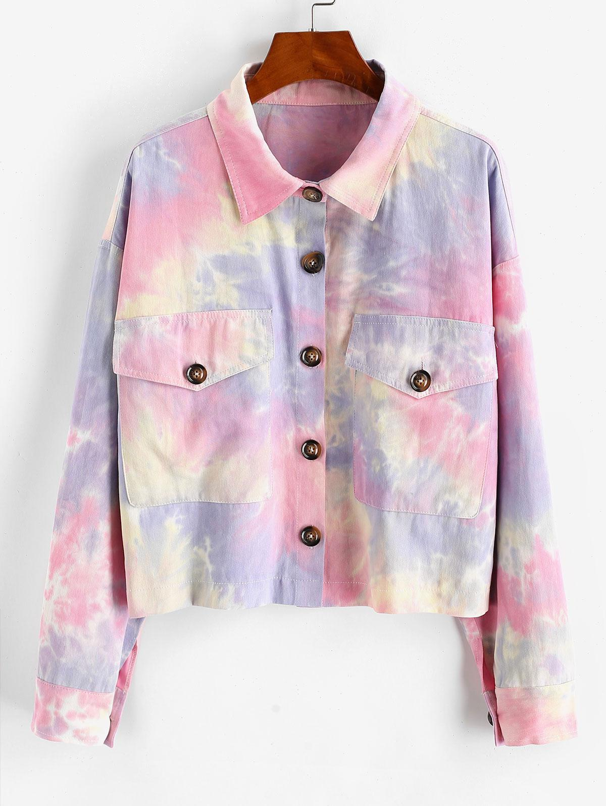 Tie Dye Flap Pockets Shirt Jacket
