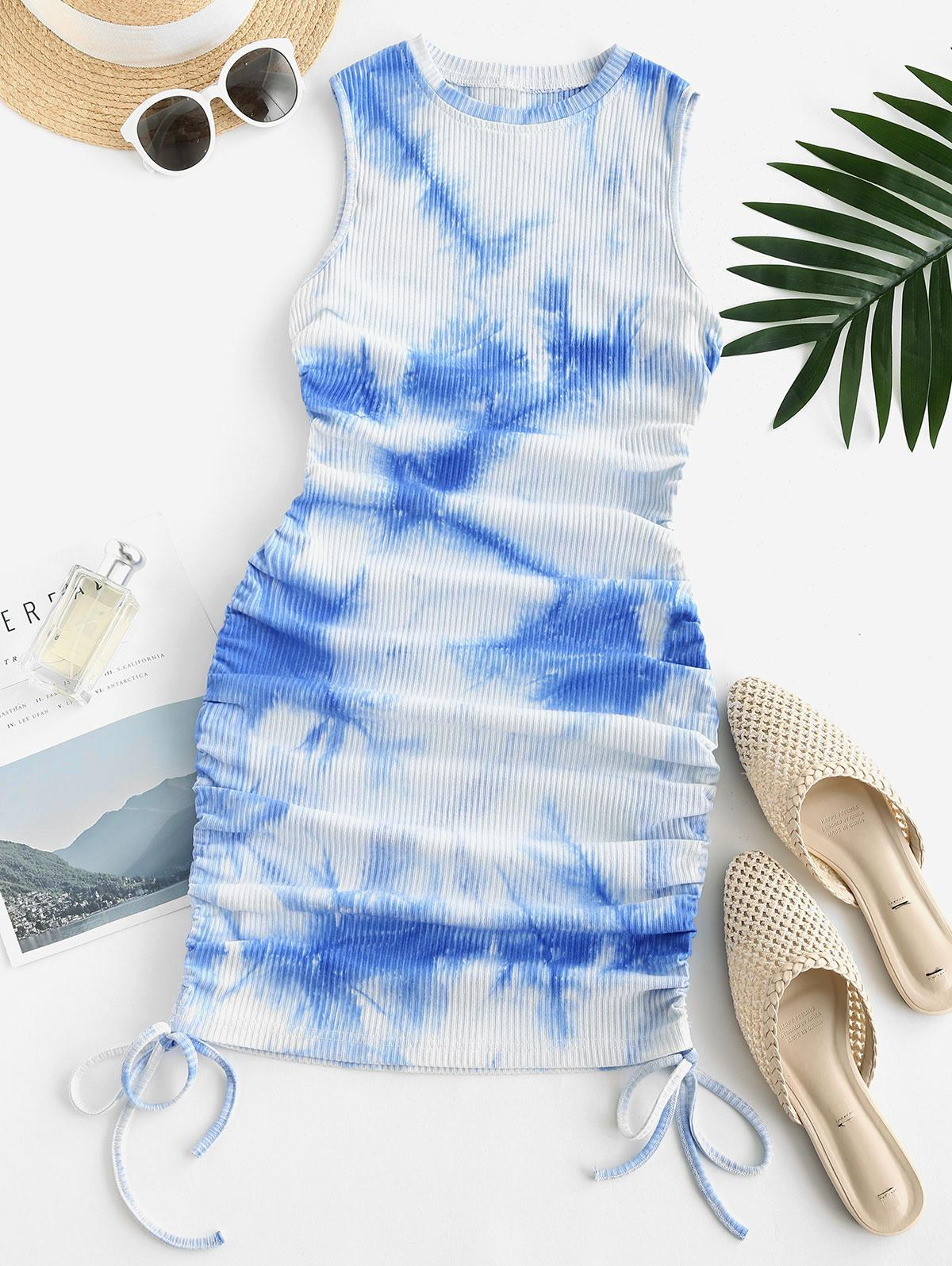 Ribbed Tie Dye Side Cinched Bodycon Dress
