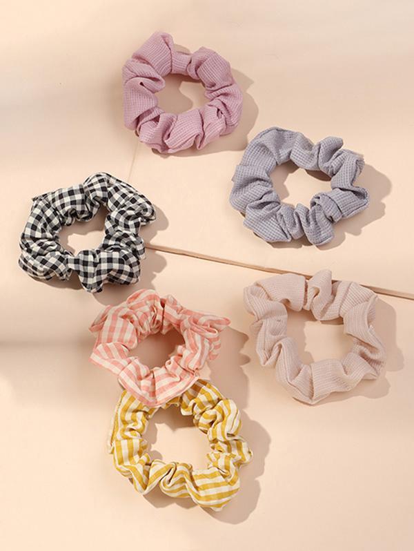 6Pcs Plaid Pattern Scrunchies Set