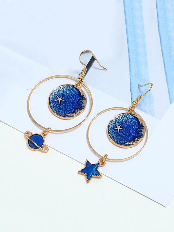 Moon Stars Asymmetrical Earrings