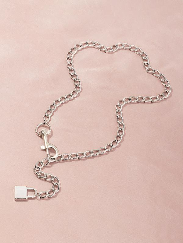 Adjustable Lock Pendant Chain Necklace
