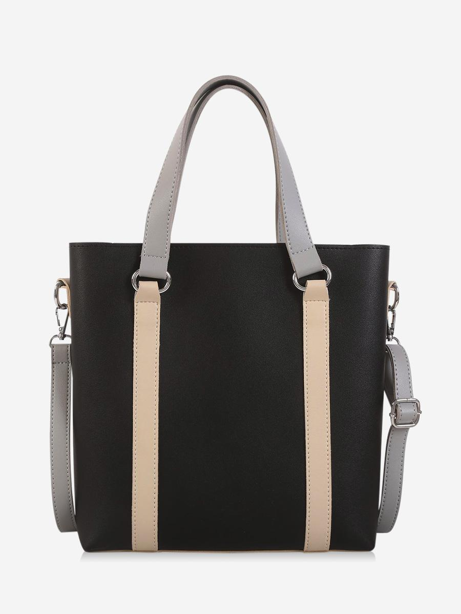 Contrast Color Leather Large Capacity Tote Bag