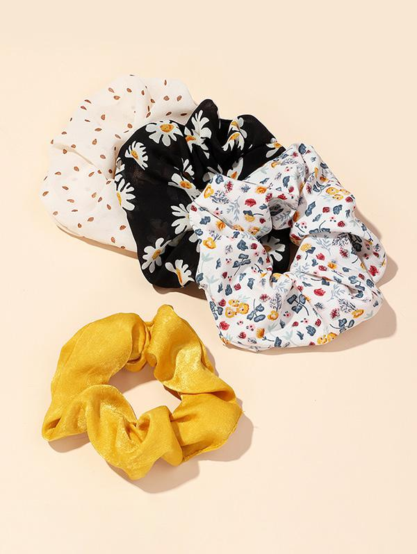 4Pcs Dots Floral Print Scrunchies Set