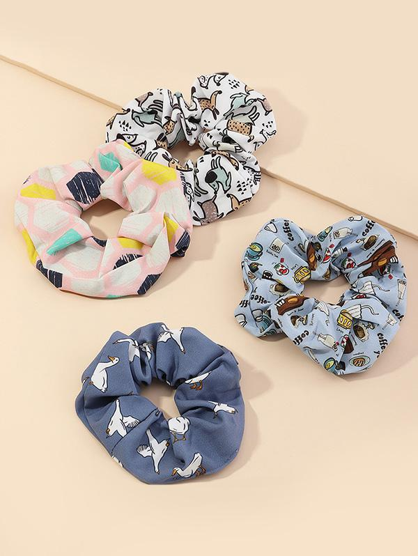 4Pcs Animal Print Scrunchies Set