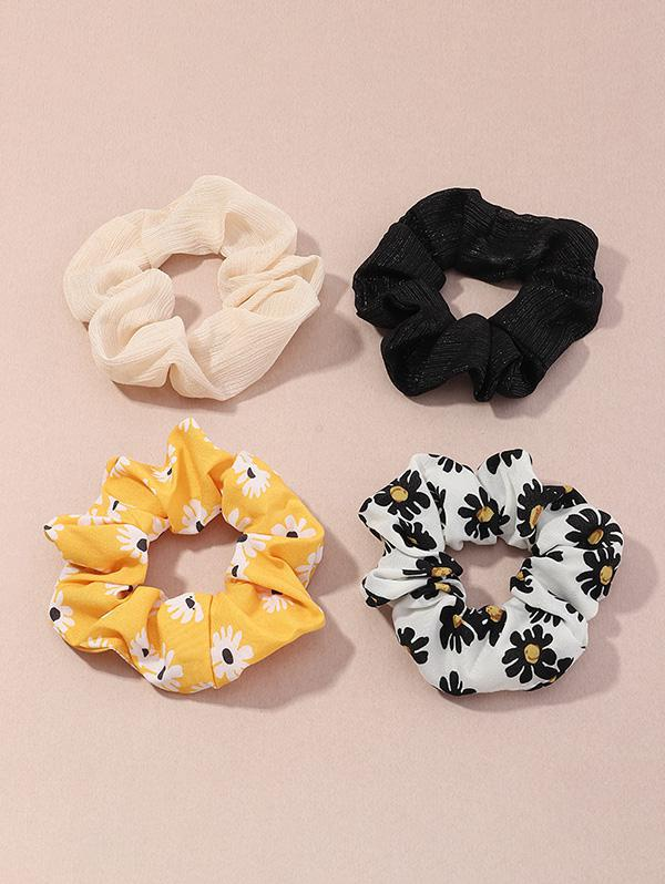 4Pcs Daisy Print Scrunchies Set