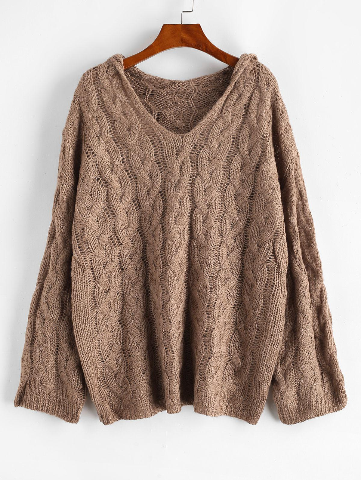 Cable Knit Hooded Drop Shoulder Sweater
