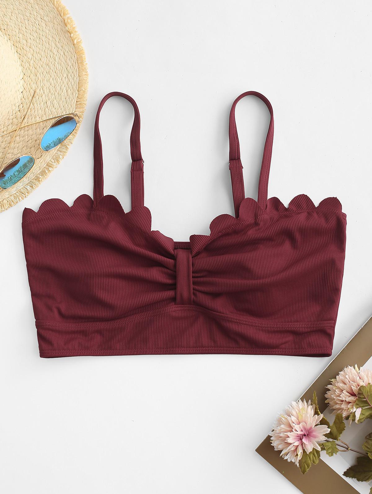 ZAFUL Plus Size Ribbed Scalloped Knotted Bikini Top