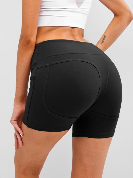 sale Wide Waistband Topstitch Peach Buttock Biker Shorts - BLACK L