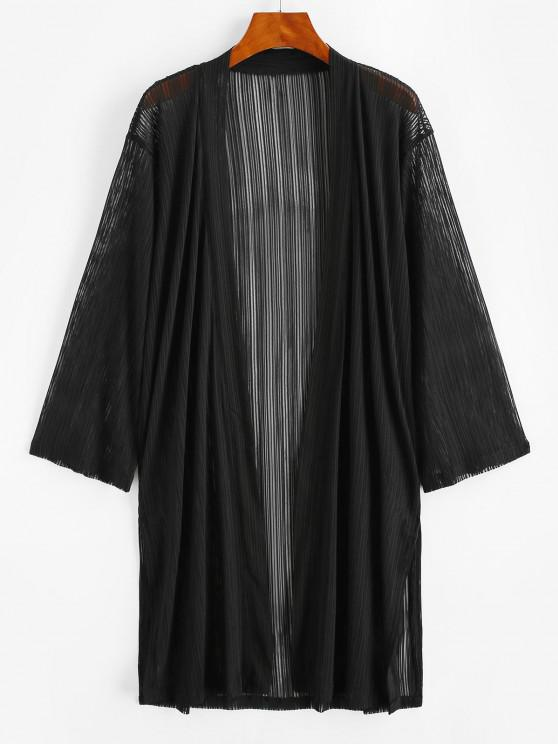 fancy Shadow Stripes Side Slit Longline Cover Up - BLACK S