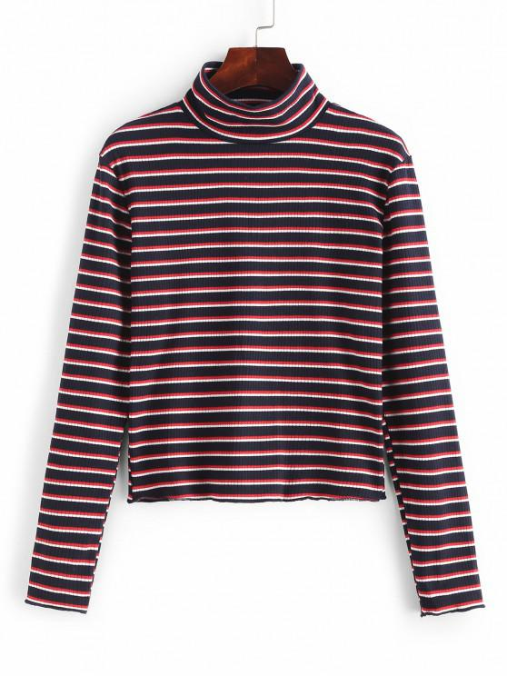 women's High Neck Striped Ribbed Knit Top - MULTI L