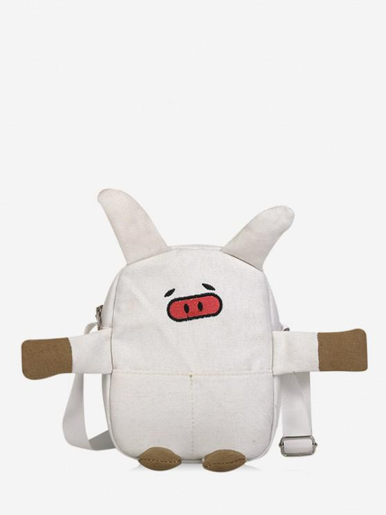 unique Cartoon Pig Canvas Crossbody Bag - WHITE