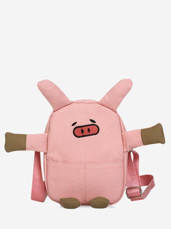 Cartoon Pig Canvas Crossbody Bag - وردي فاتح