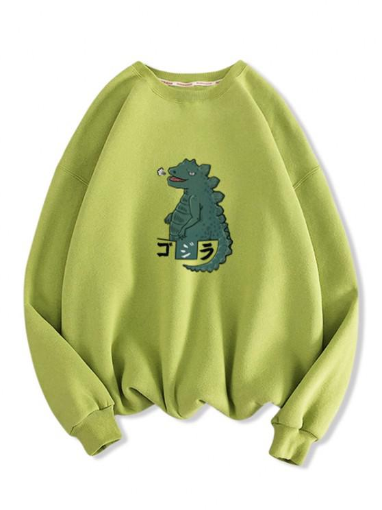 Cartoon Dinosaur Print Drop Shoulder Casual Sweatshirt - اخضر فاتح 2XL