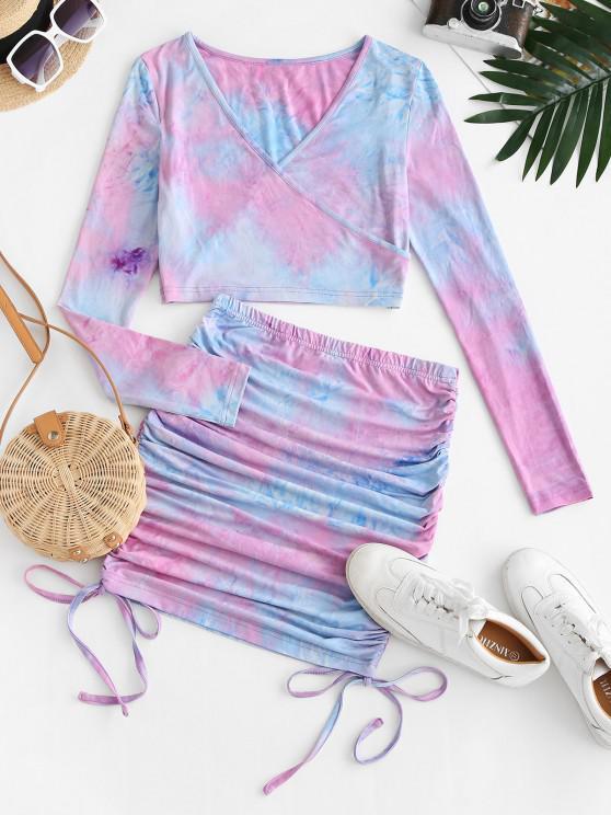 ZAFUL Tie Dye Cinched Surplice Mini Skirt Set - ضوء ارجواني L