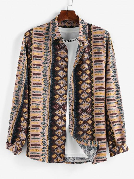 ZAFUL Tribal Geometric Print Long Sleeve Shirt - القهوة الخفيفة S