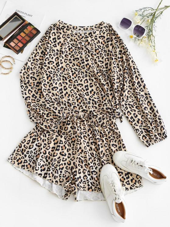 women's Lounge Button Front Leopard Two Piece Set - LIGHT COFFEE S