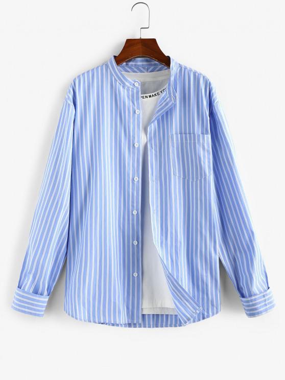 sale ZAFUL Striped Pocket Stand Collar Shirt - LIGHT BLUE L