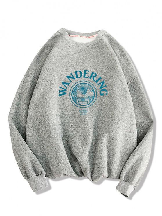 Wandering Graphic Print Drop Shoulder Sweatshirt - Cinza claro M
