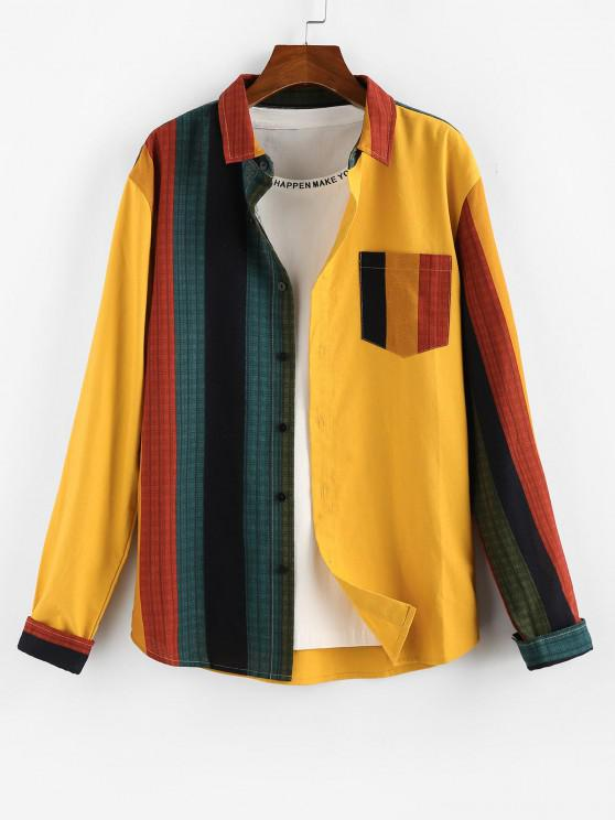 latest ZAFUL Colorblock Panel Pocket Patch Long Sleeve Shirt - YELLOW 2XL