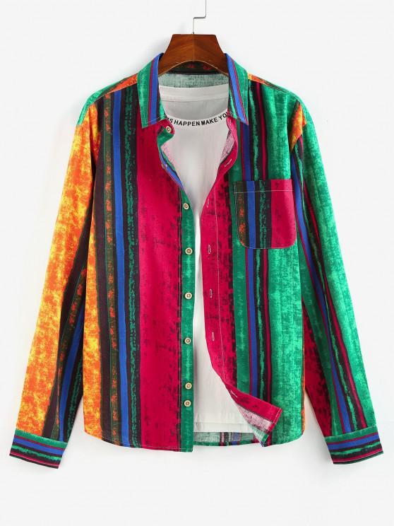 lady ZAFUL Colorblock Stripes Pocket Patch Long Sleeve Shirt - MULTI L