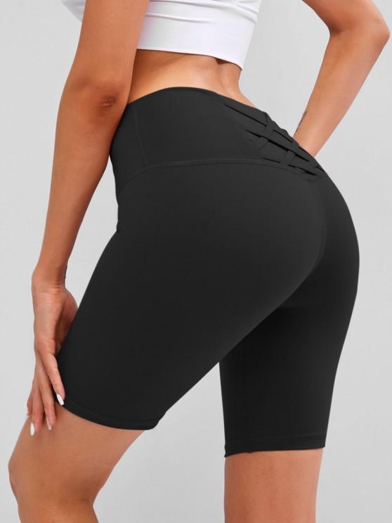 women Wide Waistband Lattice Topstitch Biker Shorts - BLACK L