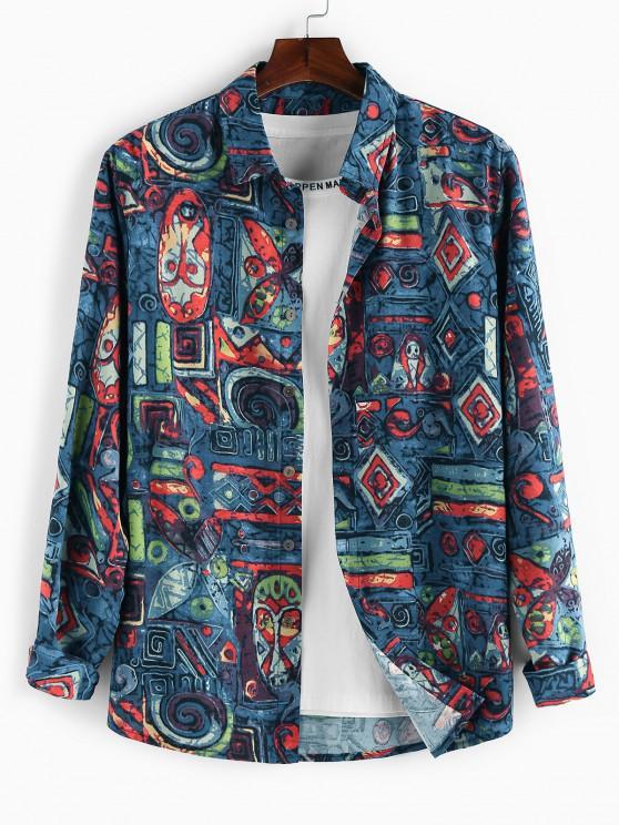 ZAFUL Allover Tribal Print Long Sleeve Shirt - ازرق غامق 2XL