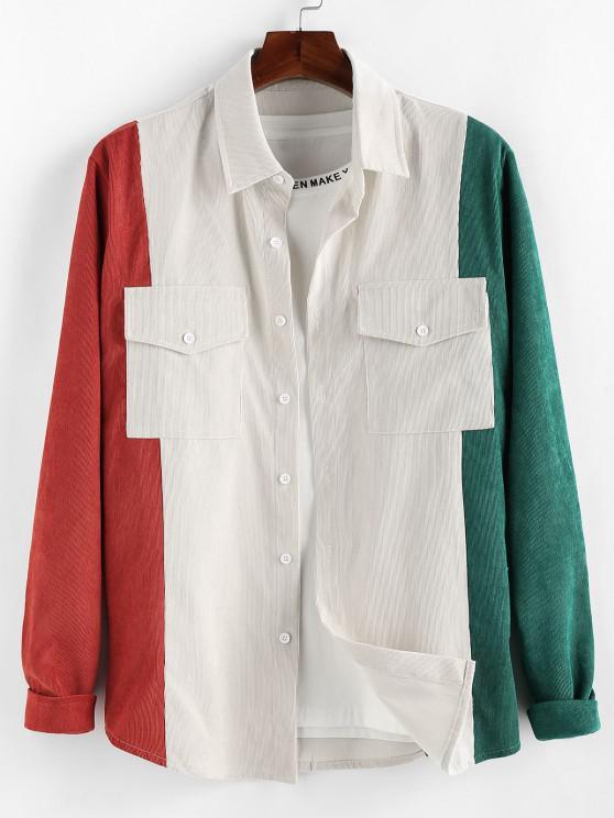 women ZAFUL Double Pockets Contrast Corduroy Shirt - MULTI XL