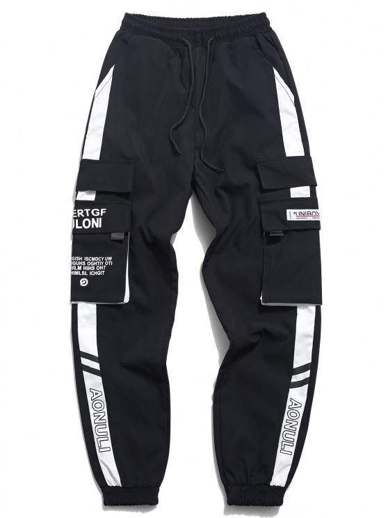 Pantalones de Carga con Estampado de Letras y Bolsillo - Blanco XS