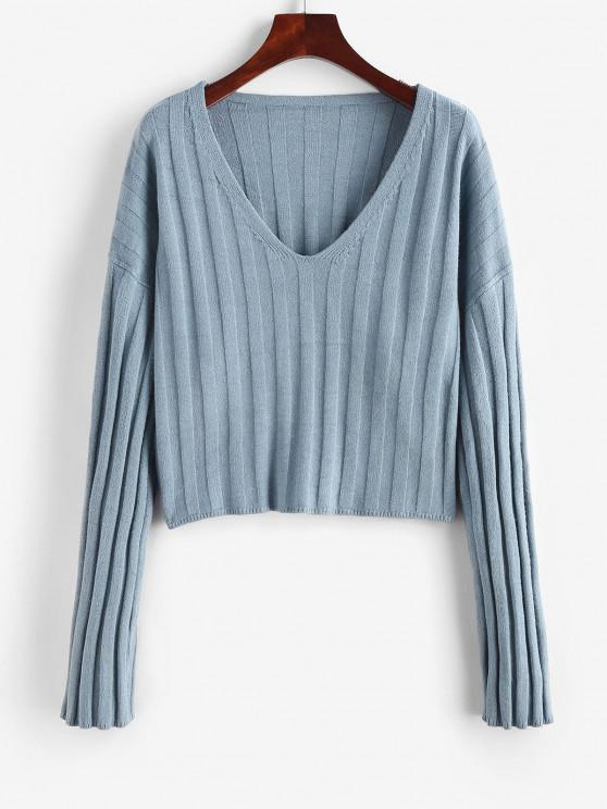 Wide Ribbed Loose Sweater - أزرق M