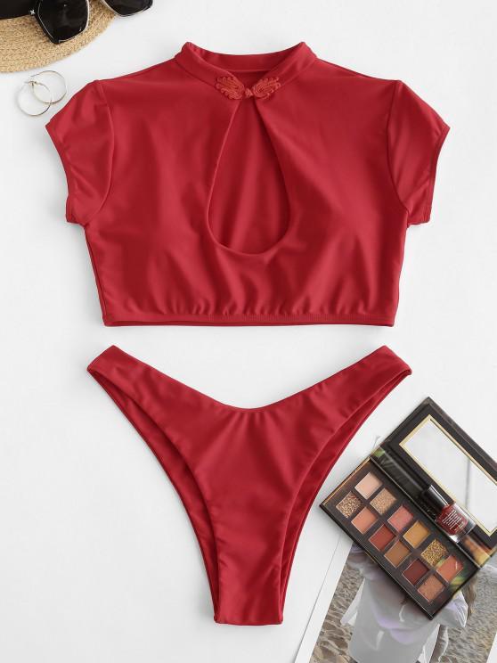 ZAFUL Keyhole High Cut Chinoiserie Frog Fastener Bikini Swimwear - أحمر S