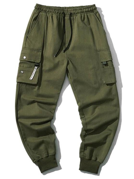 Pantalones Jogger de Cordón con Bolsillos de Solapa - Ejercito Verde S
