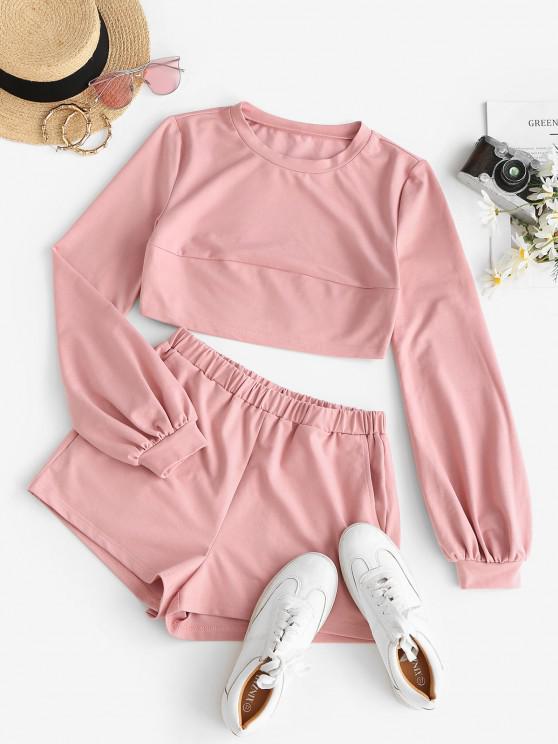 women ZAFUL Bishop Sleeve Crop Sweatshirt and Shorts Co Ord Set - PINK S
