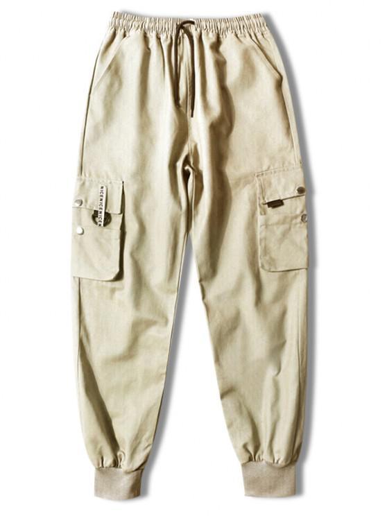 Pantalones Jogger de Cordón con Bolsillos de Solapa - café luz S
