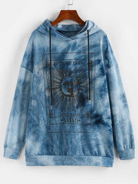 best ZAFUL Tie Dye Sun Graphic Hoodie - BLUE M
