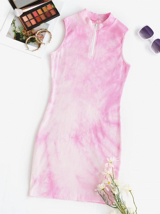 ZAFUL Tie Dye Mini Bodycon Dress - وردي فاقع S
