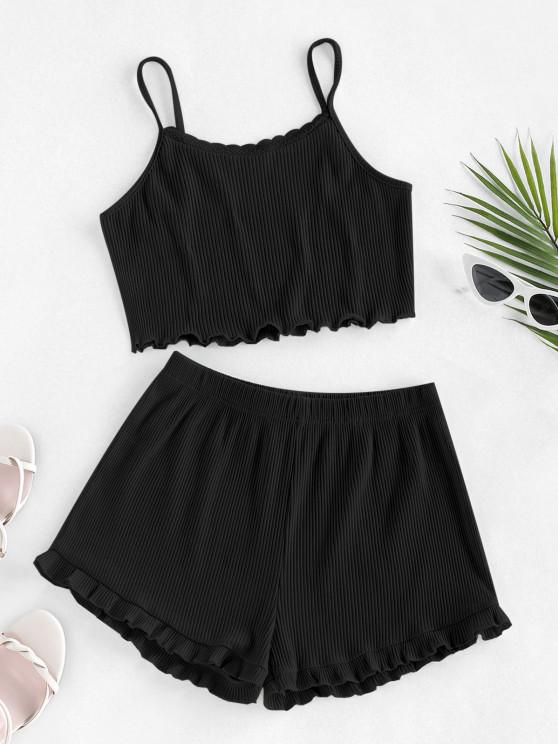 sale ZAFUL Ribbed Lettuce Trim Two Piece Shorts Set - BLACK S