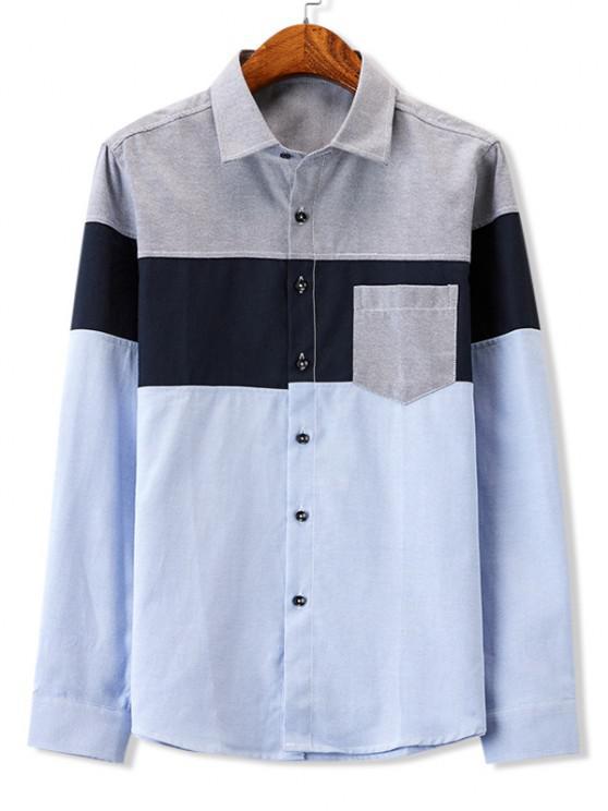 hot Colorblock Panel Pocket Stitching Long Sleeve Shirt - GRAY S