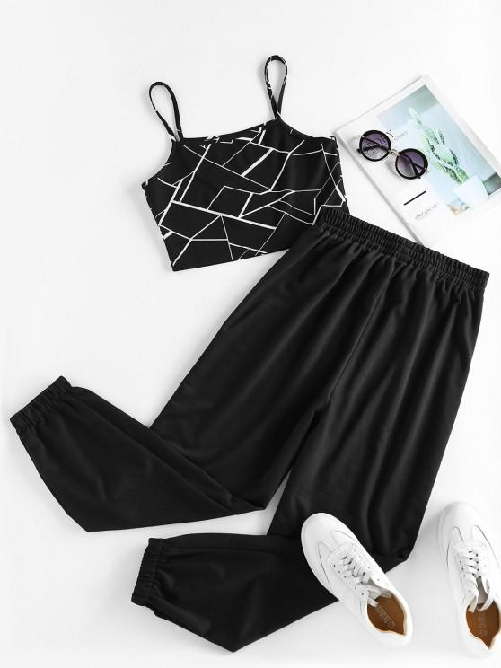 sale ZAFUL Geometry Crop Top and Pants Two Piece Set - BLACK S